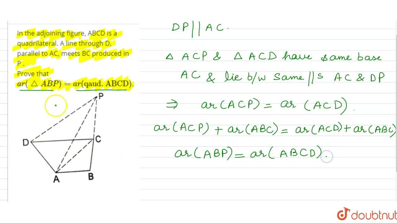 Solution for In  the adjoining figure, ABCD is a quadrilateral.
