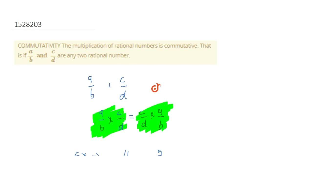 Solution for COMMUTATIVITY The multiplication of rational numbe