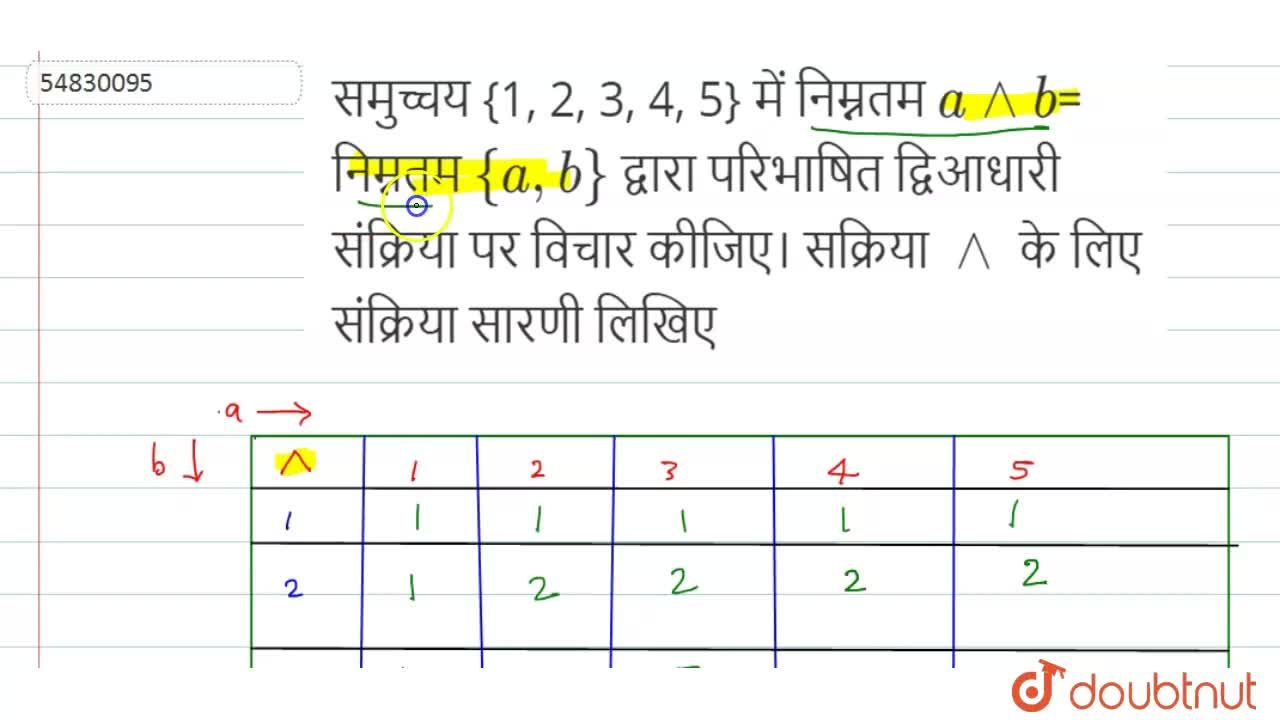 Solution for समुच्चय {1, 2, 3, 4, 5} में  a^^b= निम्नतम {a,b