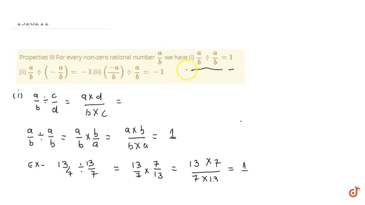 Solution for Properties III For every non-zero rational number