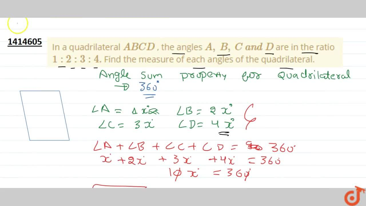 In a quadrilateral A B C D , the angles A ,\ B ,\ C\ a n d\ D are in the ratio 1:2:4:5 . Find the measure of   each angles of the quadrilateral.