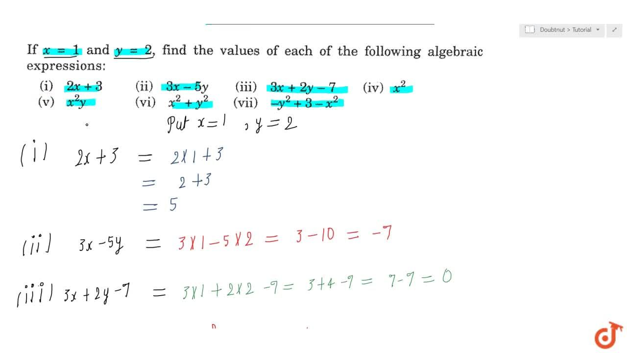 Solution for Finding the value of an algebraic expression