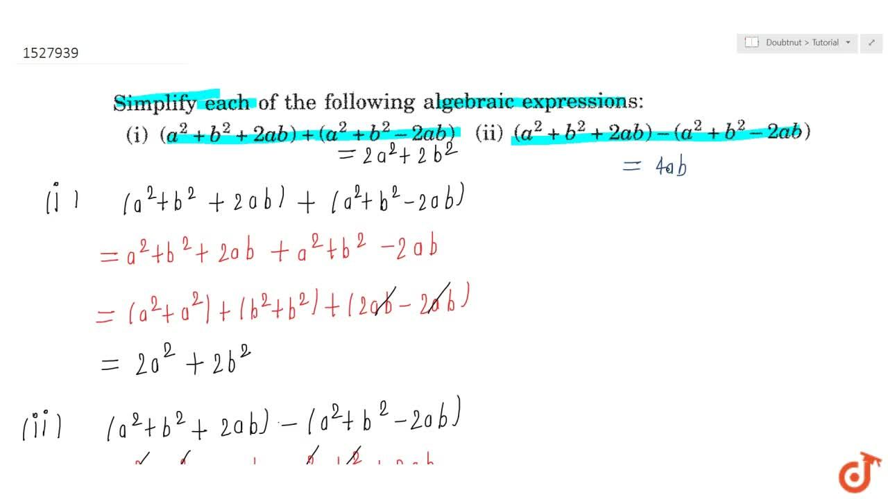 Solution for Examples on simplification of algebraic expression