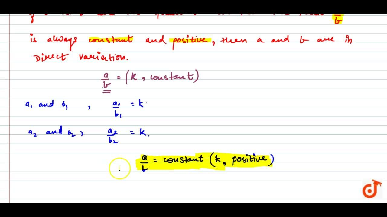 Solution for Direct variations (in mathematical form).