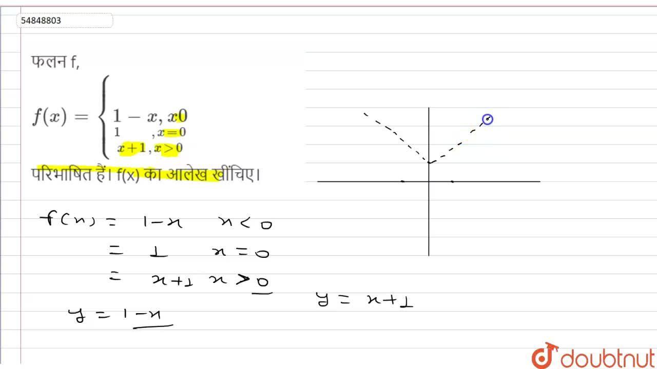Solution for फलन f, <br> f(x) = {underset(x +1 , x gt 0)under