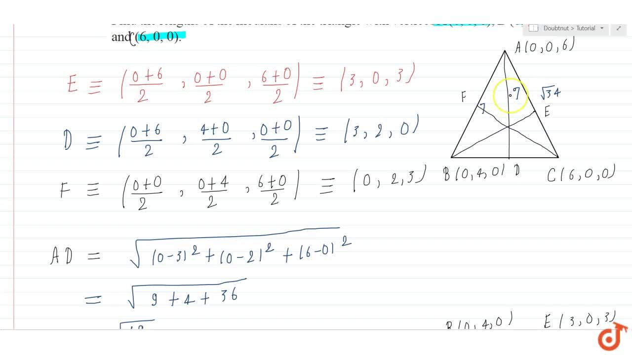 Solution for Find the lengths of the medians of the triangle wi