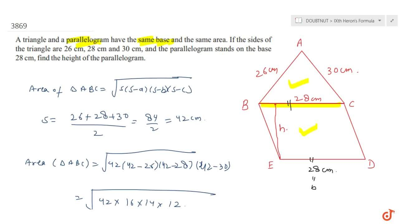 Solution for A triangle and a parallelogram have the same base