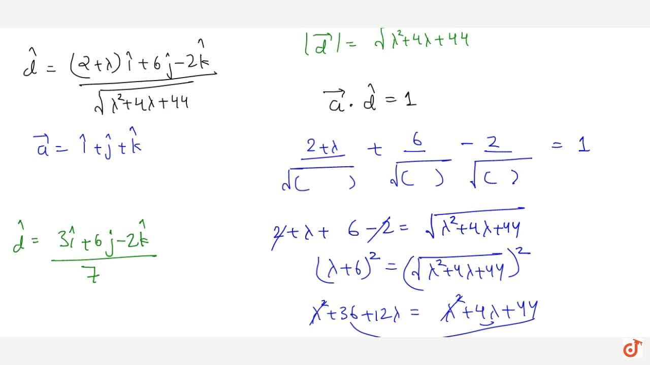 Solution for The scalar product of the vector  vec a= hat i+ h