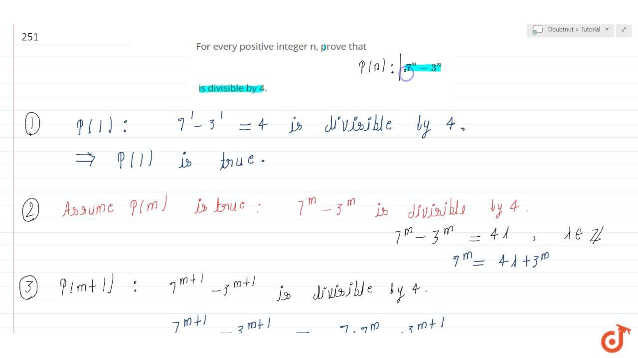 Solution for For every positive integer n, prove that 7^n-3^n