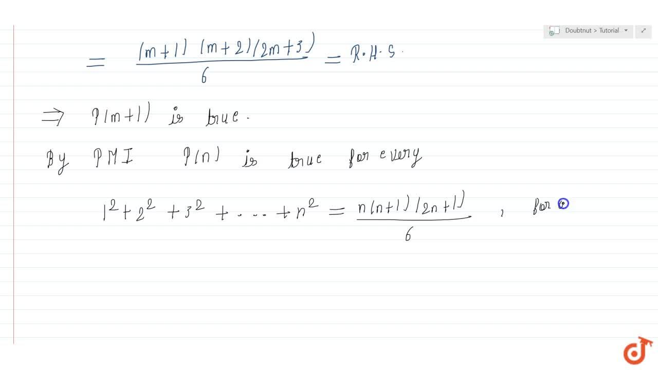 Solution for For all n geq1, prove that 1^2+2^2+3^2+4^2+dotd