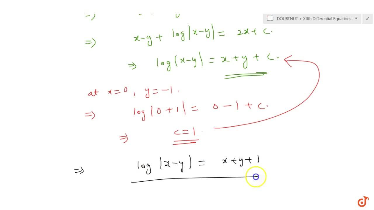 Solution for  Find  a particular solution of the differential e