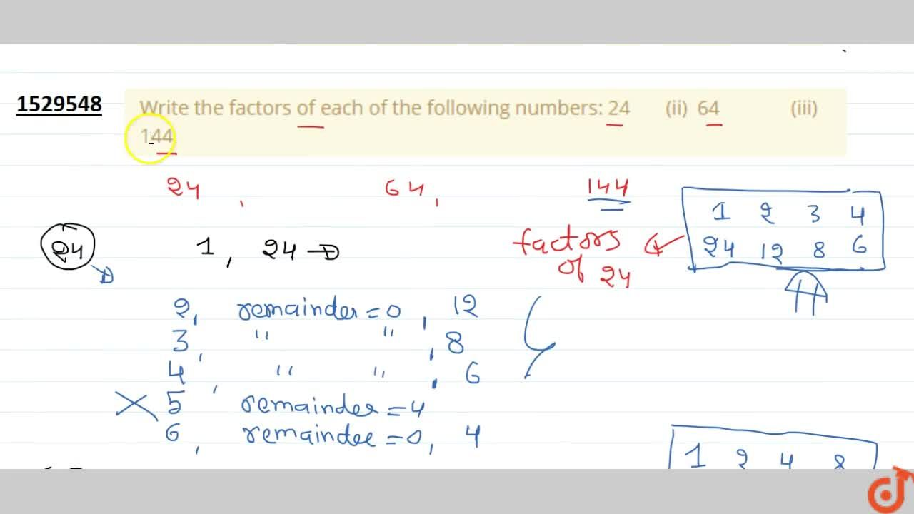 Solution for Write the factors of each of the following   numb
