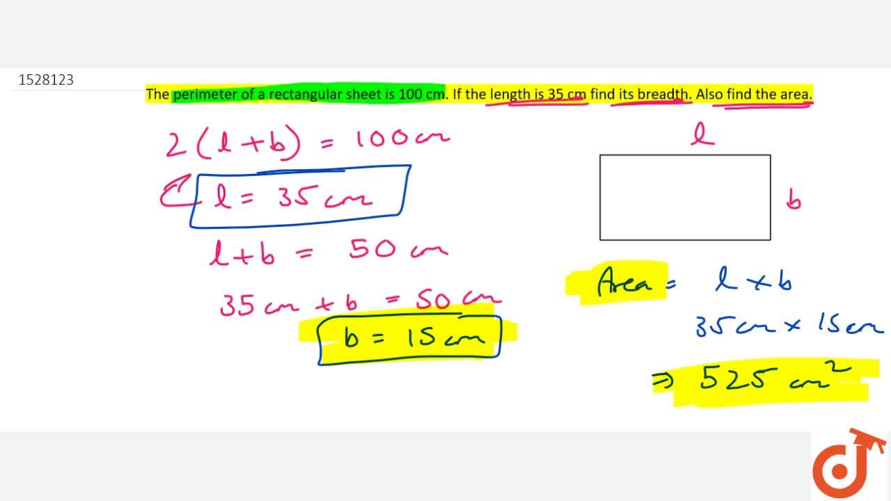 Solution for The perimeter of a rectangular sheet is 100 cm. If