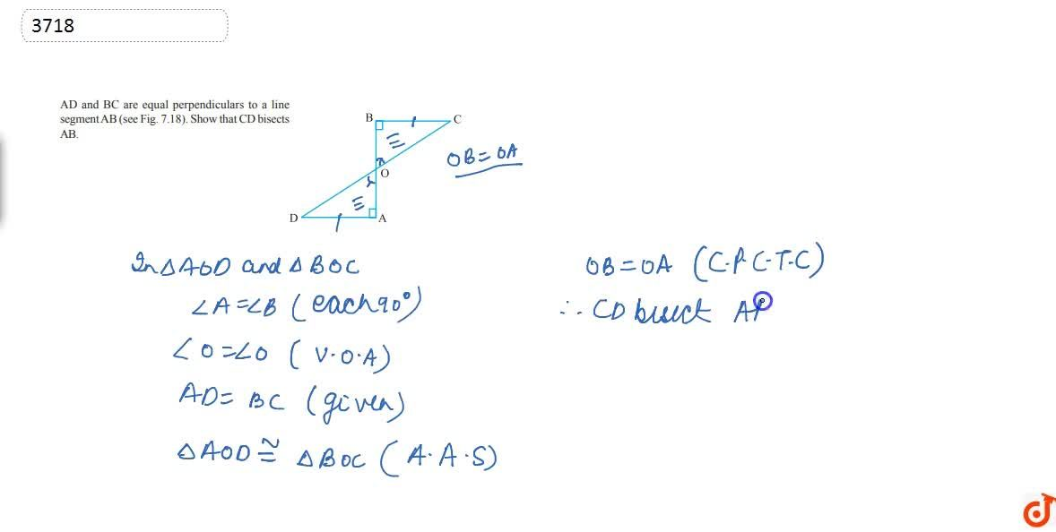 Solution for AD and BC are  equal perpendiculars to a line segm