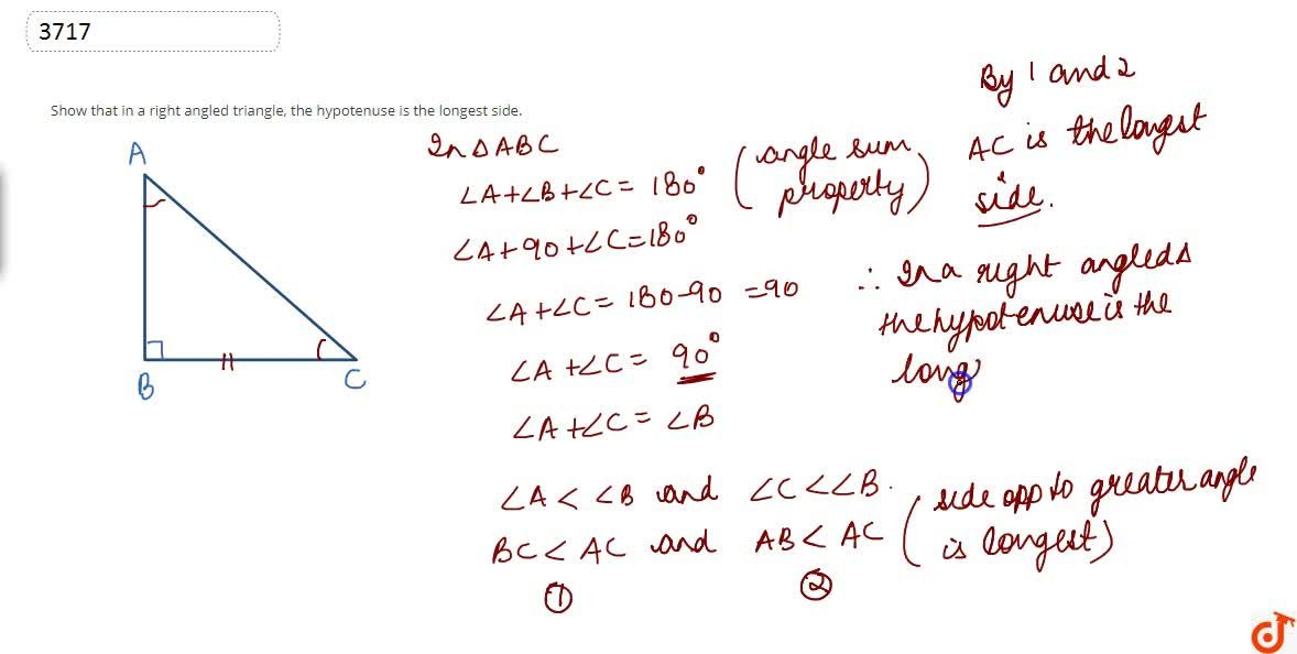 Solution for Show that in a  right angled triangle, the hypoten