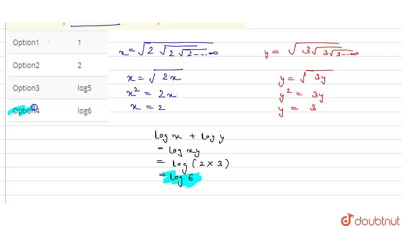 "Solution for The value of log sqrt(2sqrt(2sqrt(2...oo"" times"")"