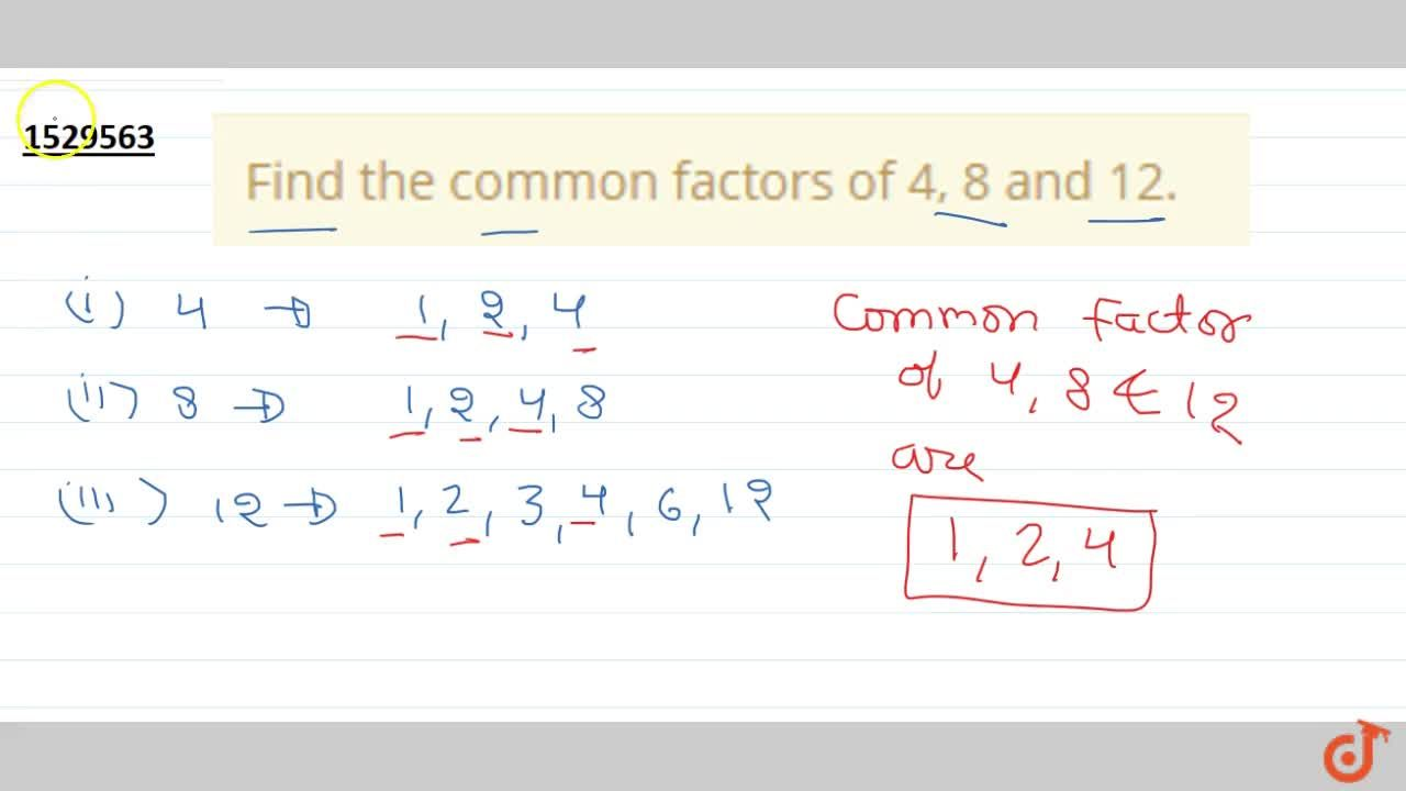Find the common factors of 4, 8 and 12.