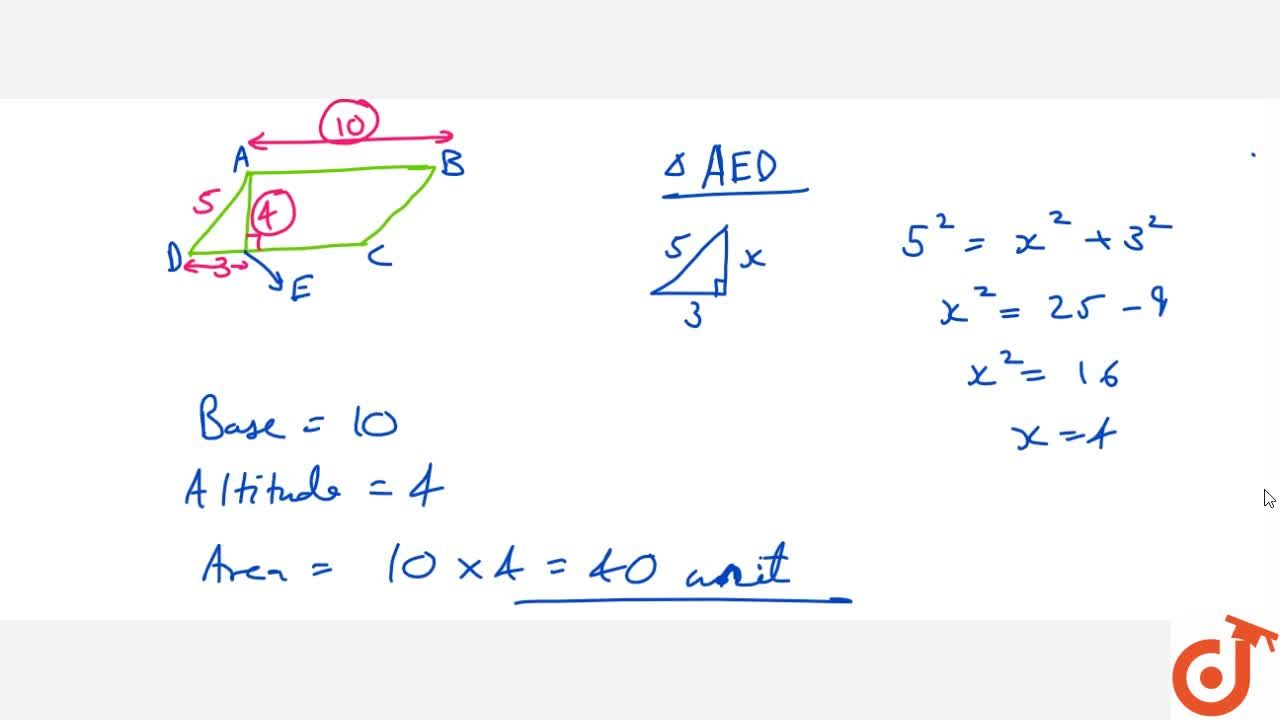 Solution for Area of a parallelogram = Base x Altitude