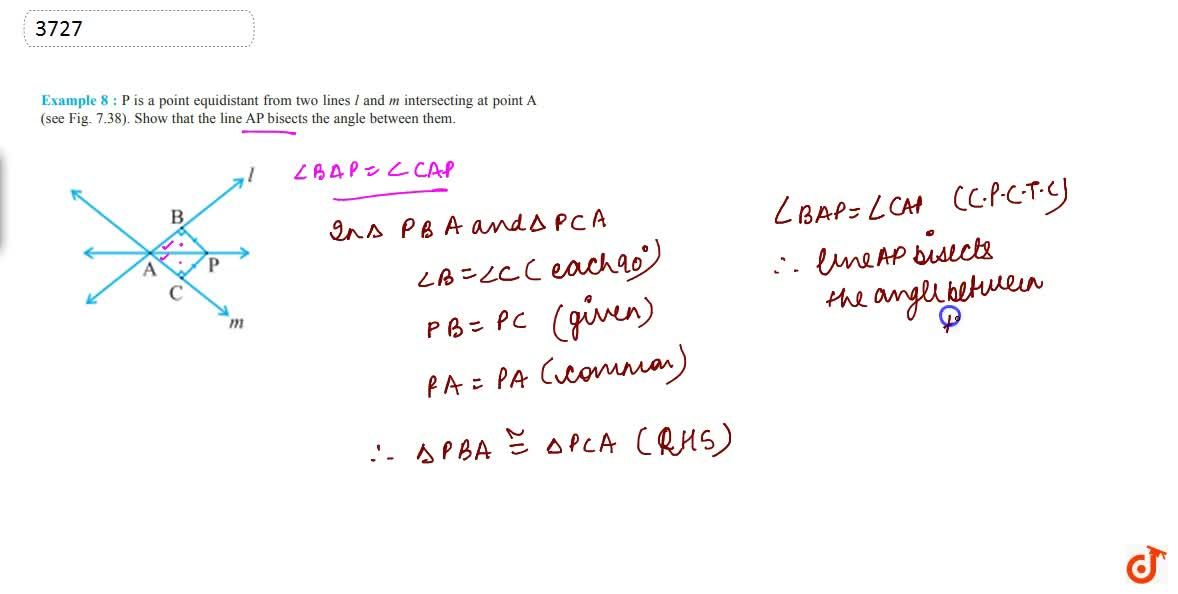 Solution for P is a point equidistant from  two lines l and m i