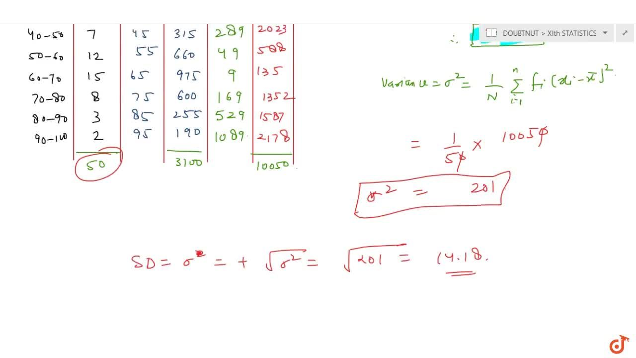 Calculate the mean, variance and standard deviation for the  following distribution:Class  30-40  40-50 50-60 60-70 70-80 80-90 90-100Frequency  3 7 12 15 8 3 2