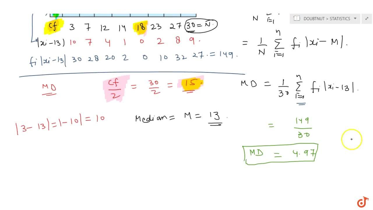 Find the mean deviation about the median for the following data: