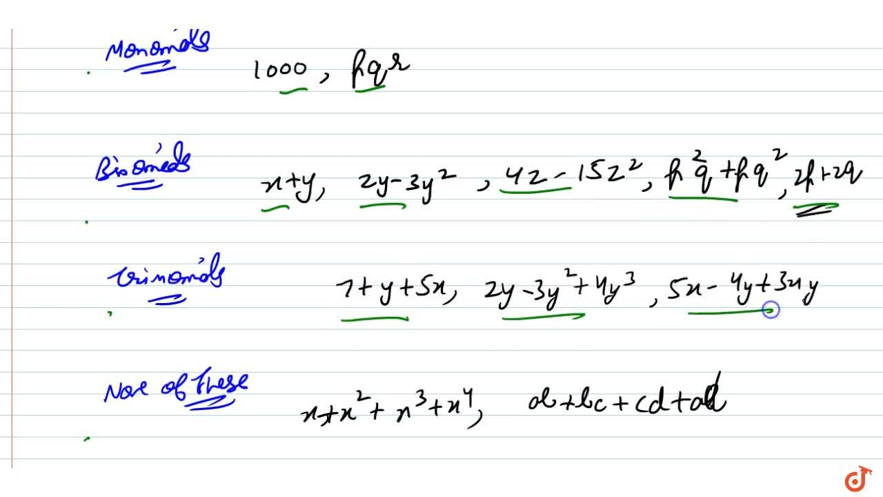 Solution for Classify the following polynomials as monomials, b