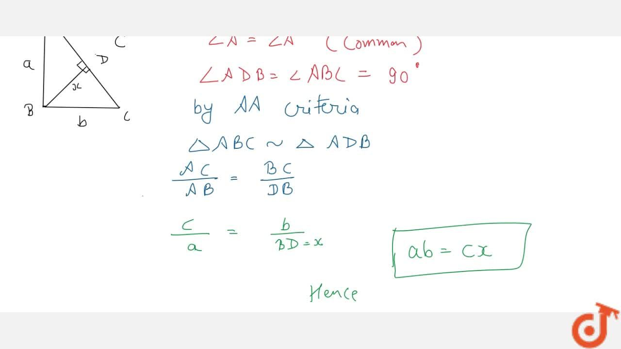 Solution for In a right   angled triangle with sides a and