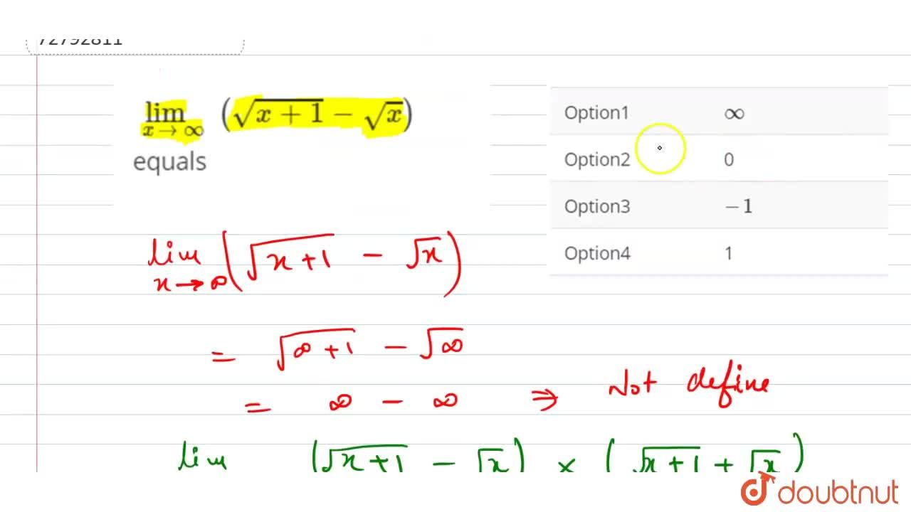 Solution for lim_(x to oo)  (sqrt(x + 1) - sqrt(x)) equals