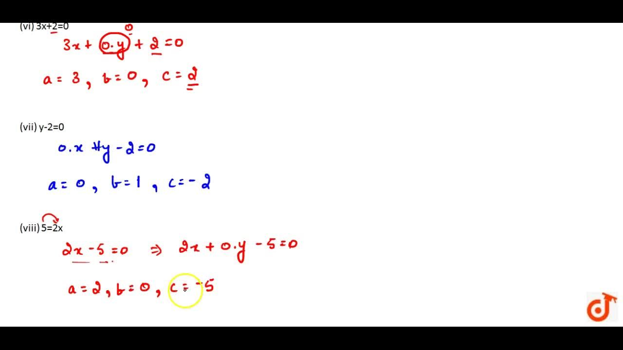 Solution for Express the following linear equations  in the for