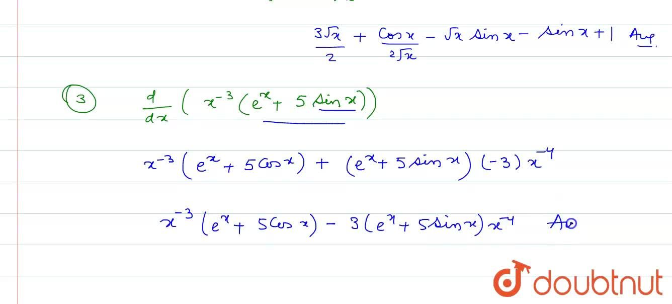 Solution for Find the derivative of the following functions. <b