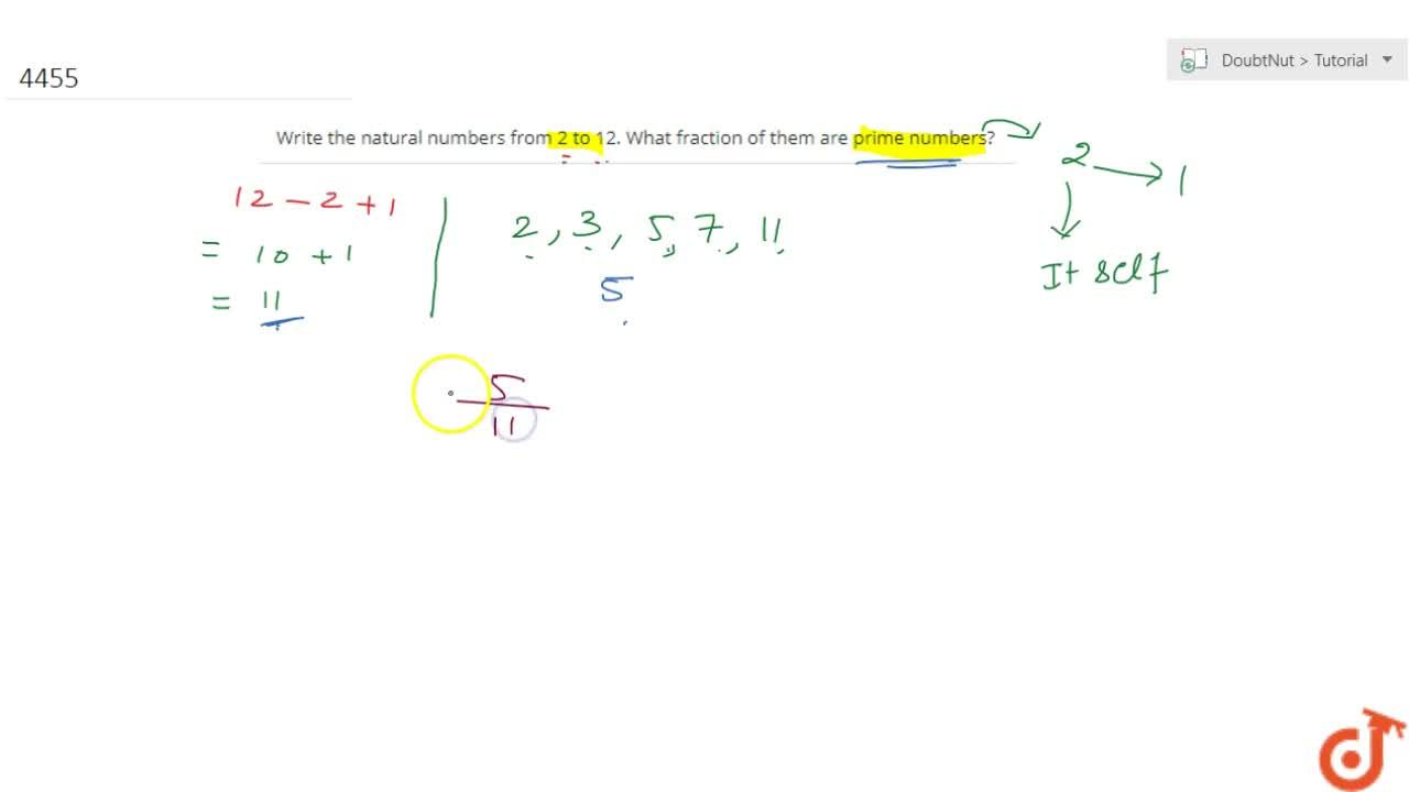 Solution for Write the natural numbers from 2 to 12. What  frac