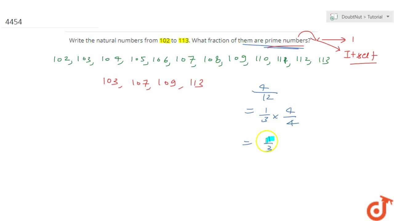 Solution for Write the natural numbers from 102 to 113. What fr