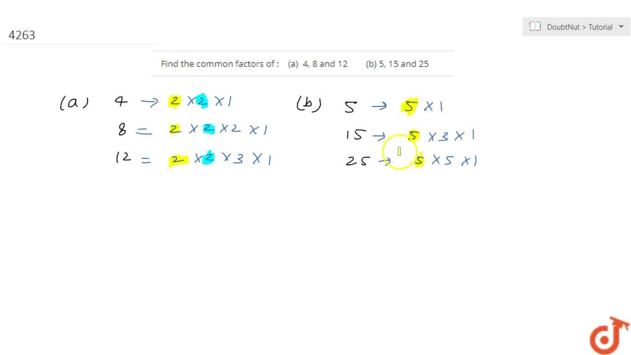 Find the common factors of : (a)  4, 8 and 12 (b) 5, 15 and 25