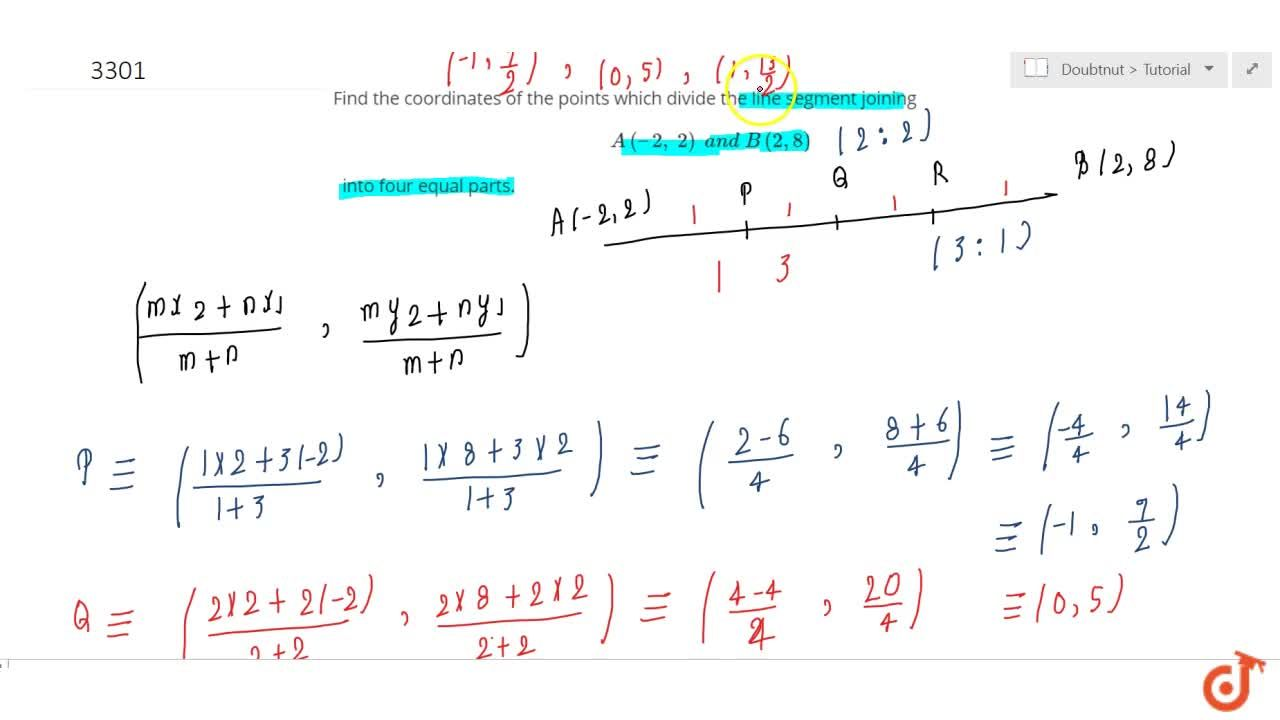Solution for Find the coordinates of the points which divide th