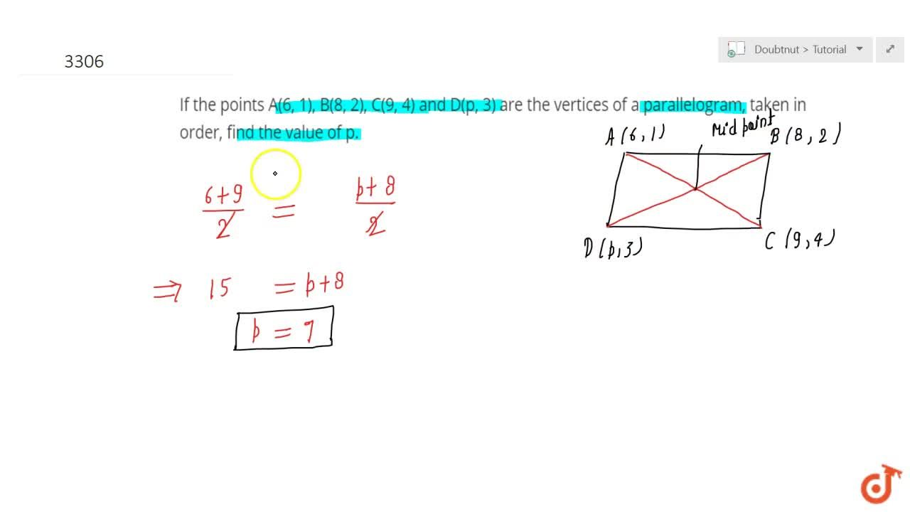 Solution for If  the points A(6, 1), B(8, 2), C(9, 4) and D(p,