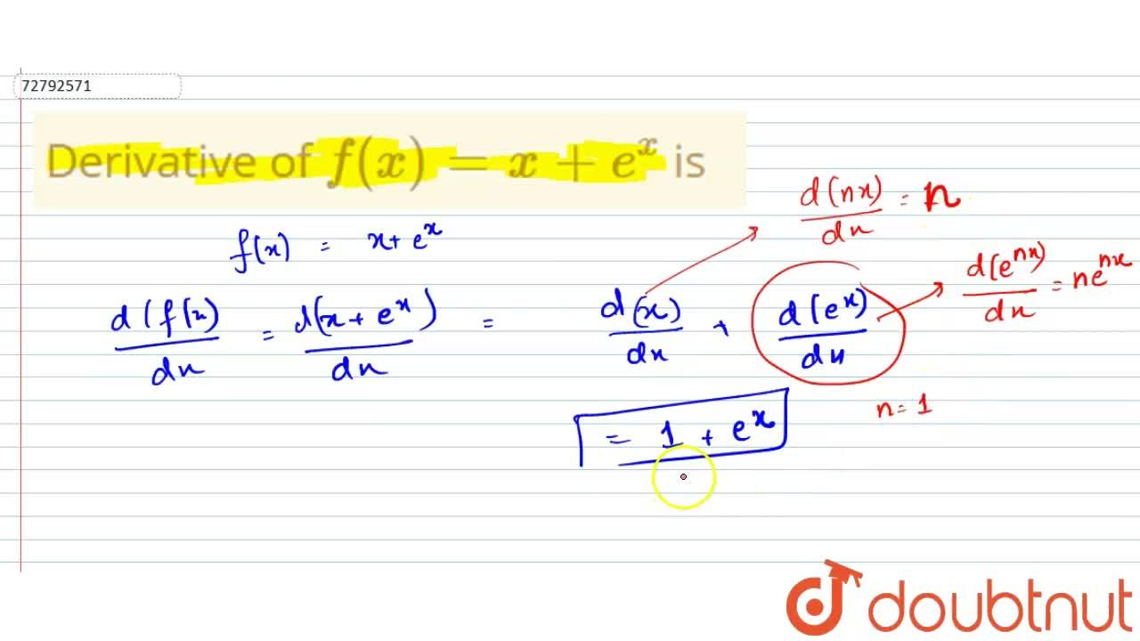 Solution for Derivative of f(x) = x + e^(x) is