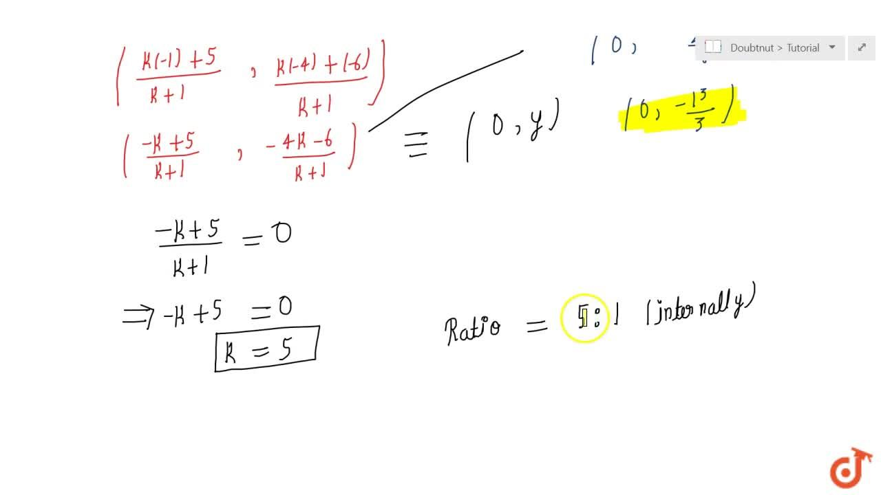 Find  the ratio in which the y-axis divides the line segment joining the points (5,\ 6)\ a n d\ (1, 4).