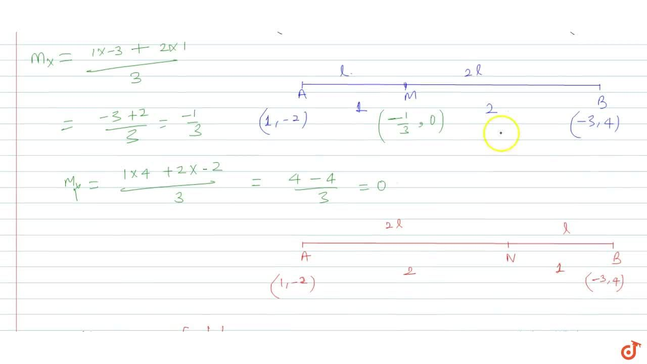 The line joining the points (1, -2) and (-3, 4) is trisected; find the coordinates of the points of trisection.