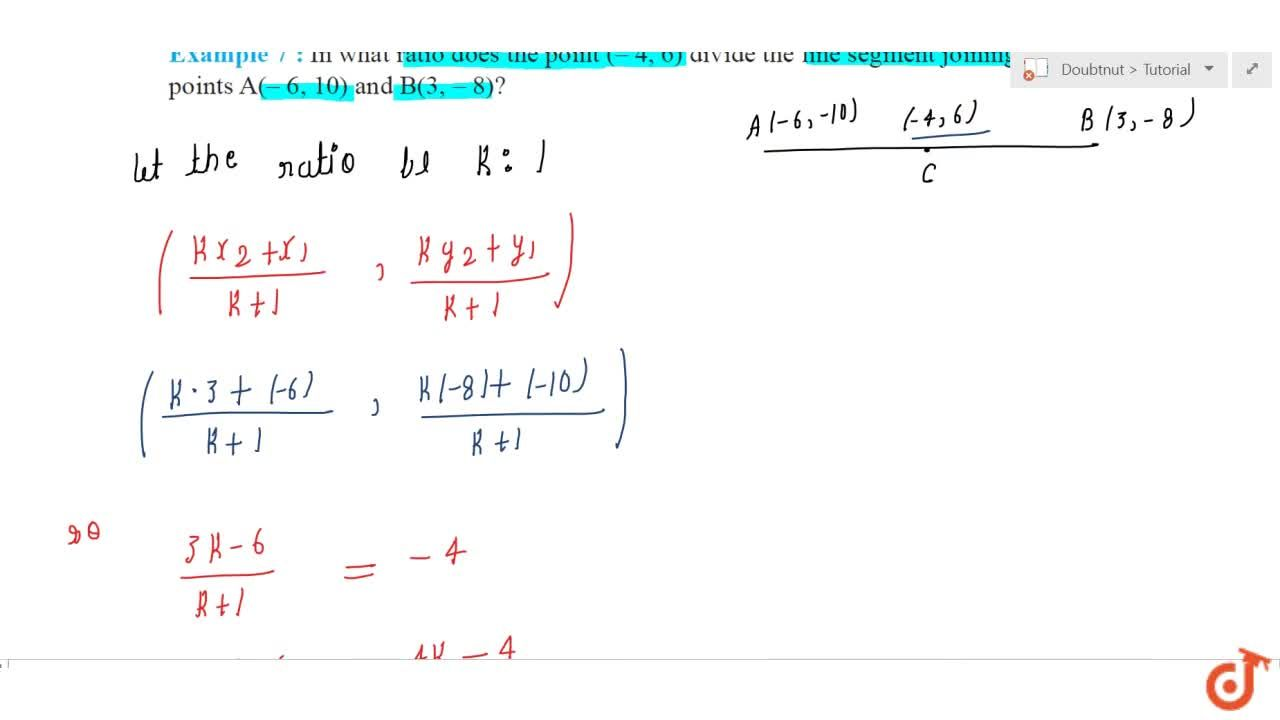 Solution for In what ratio does the point (4,\ 6)divide the l