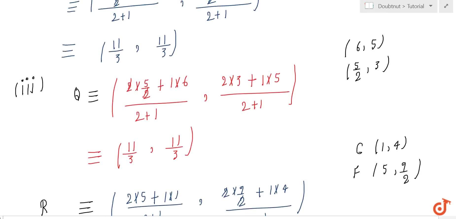 Solution for  Let  A (4, 2), B(6, 5) and C(1, 4) be the vertice