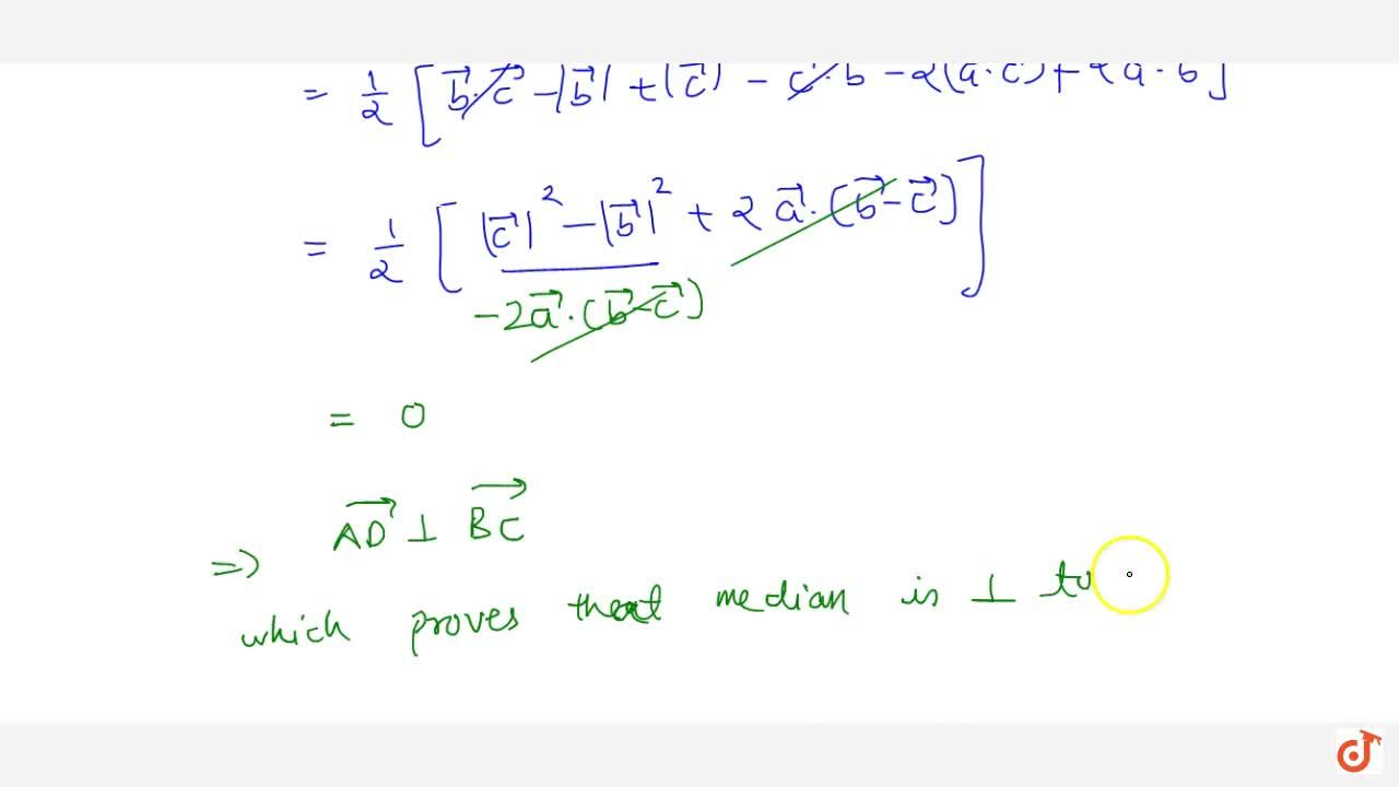Solution for Prove using vectors: The median to the base of an