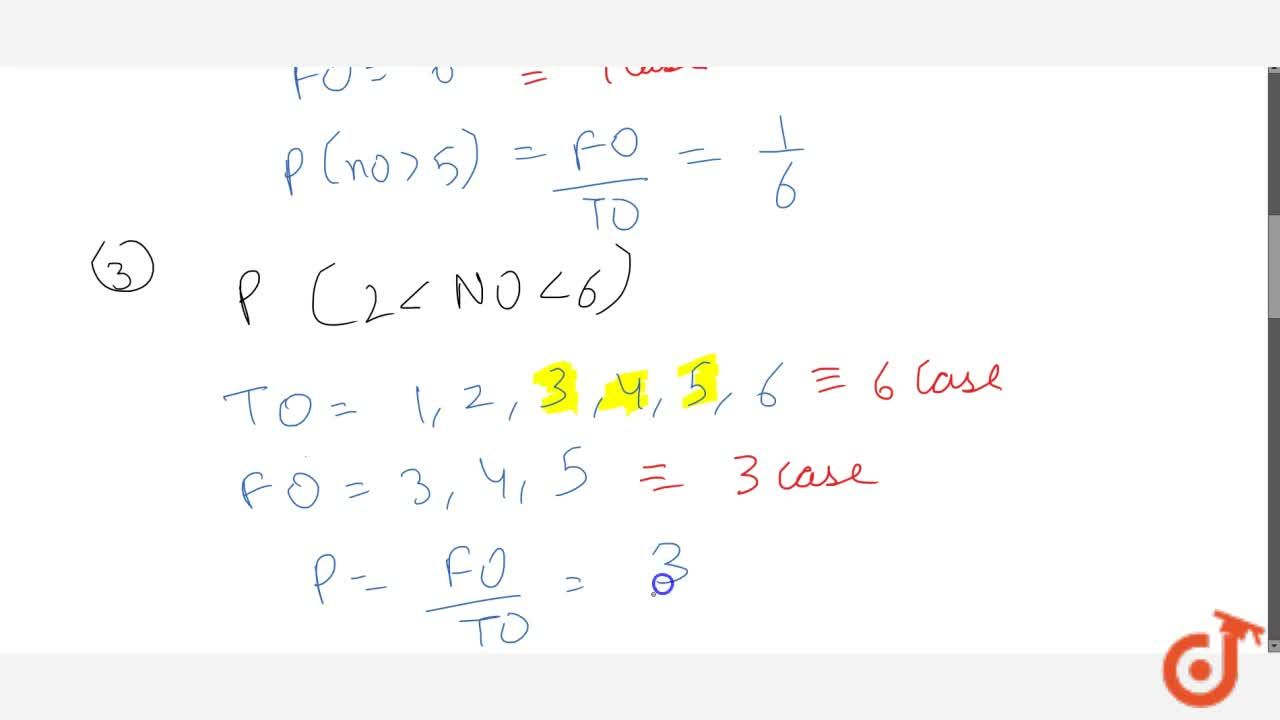 Solution for A die is   thrown. Find the probability of gettin