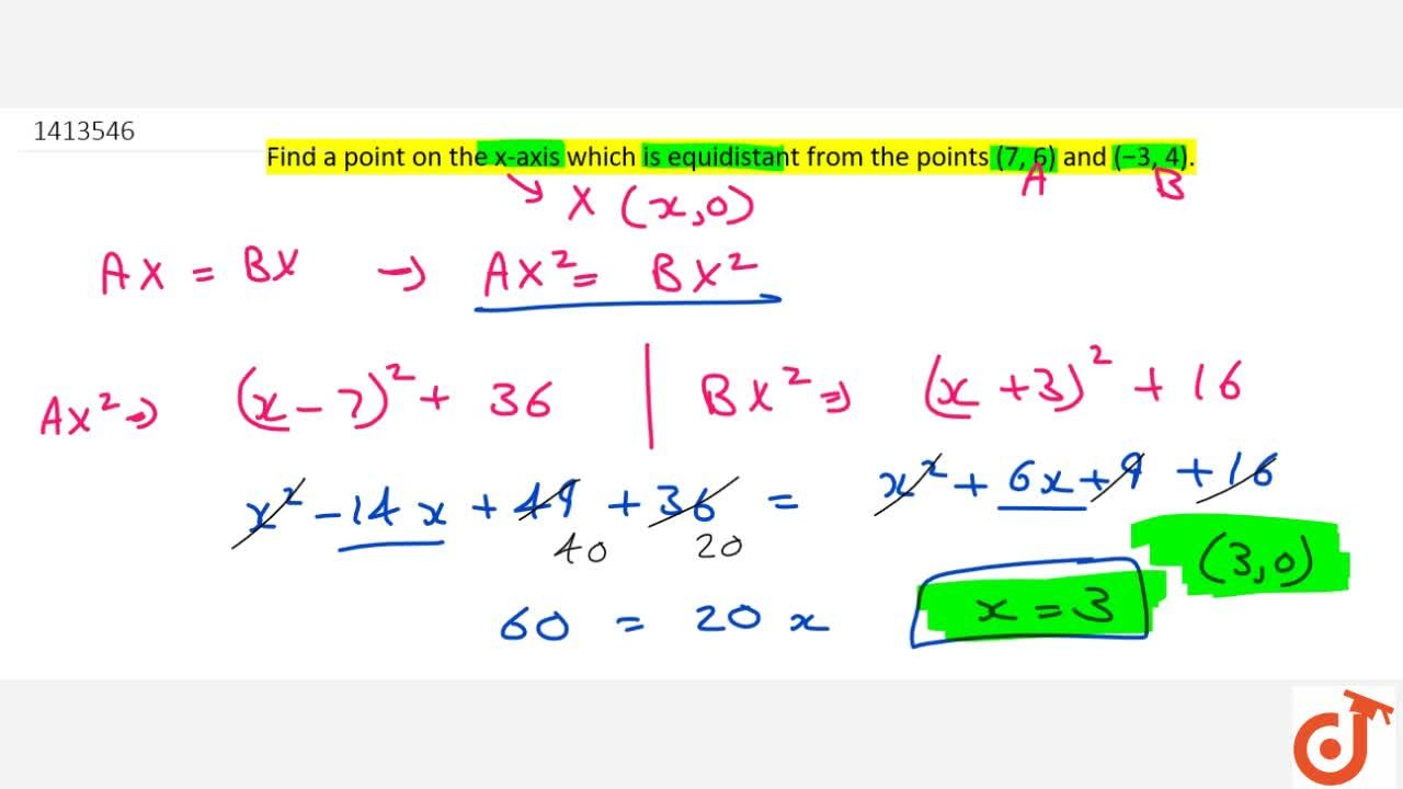 Solution for Find a   point on the x-axis which is equidistant
