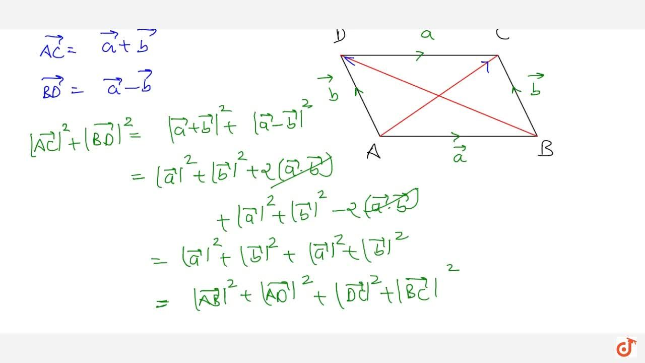 Prove by vector method that the sum of the square   of the diagonals of a parallelogram is equal to the sum of the squares of its   sides.