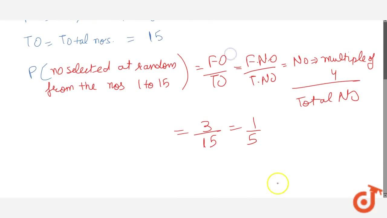 Solution for The   probability that a number selected at rando