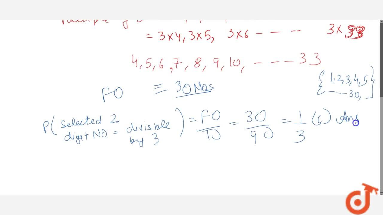 Solution for If a two   digit number is chosen at random, then