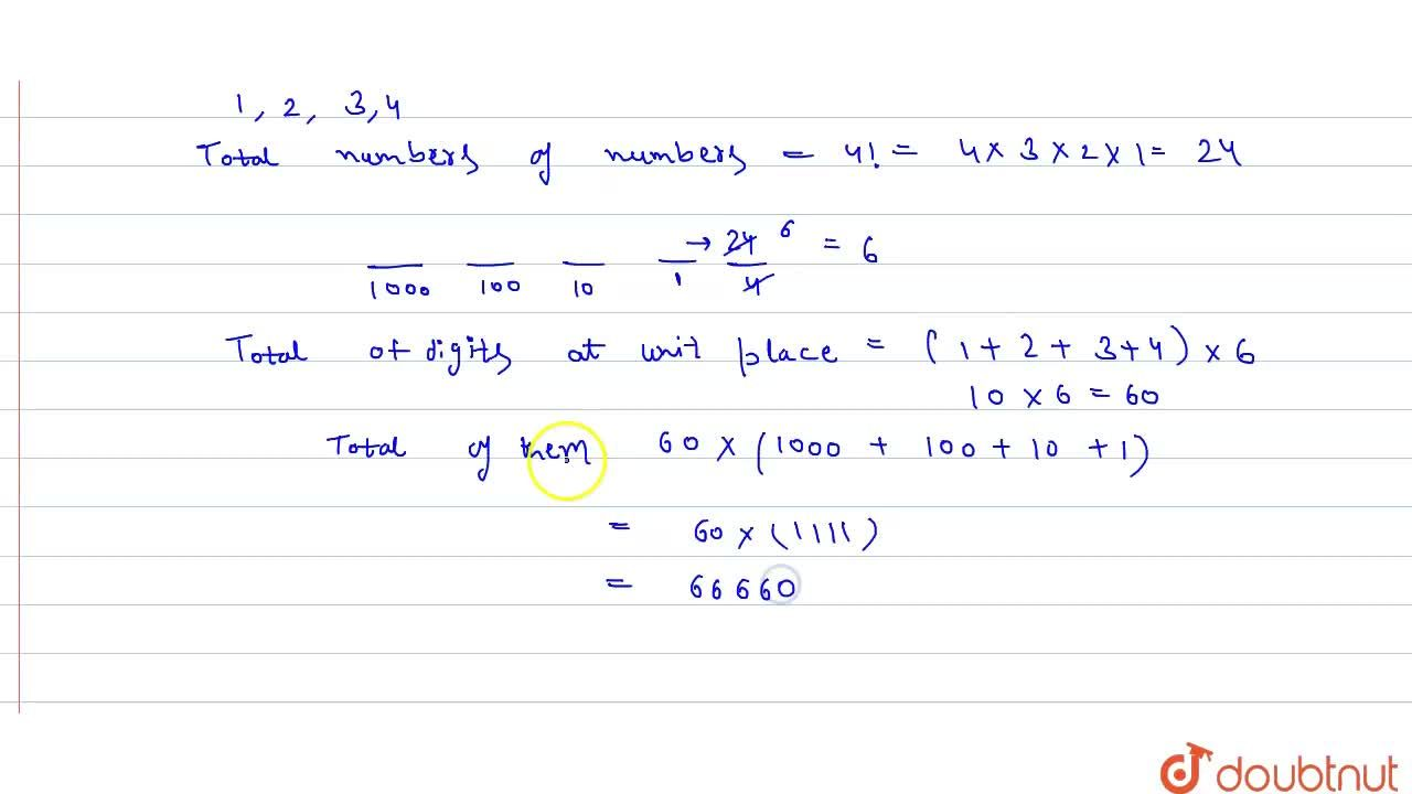 How many different 4-digit number can be formed with the digits 1,2,3,4 without any repetition ? Also find their sum.