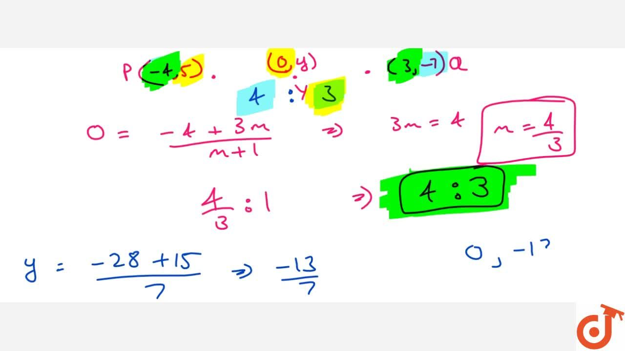 Solution for In what   ratio does the y-axis divide the line s