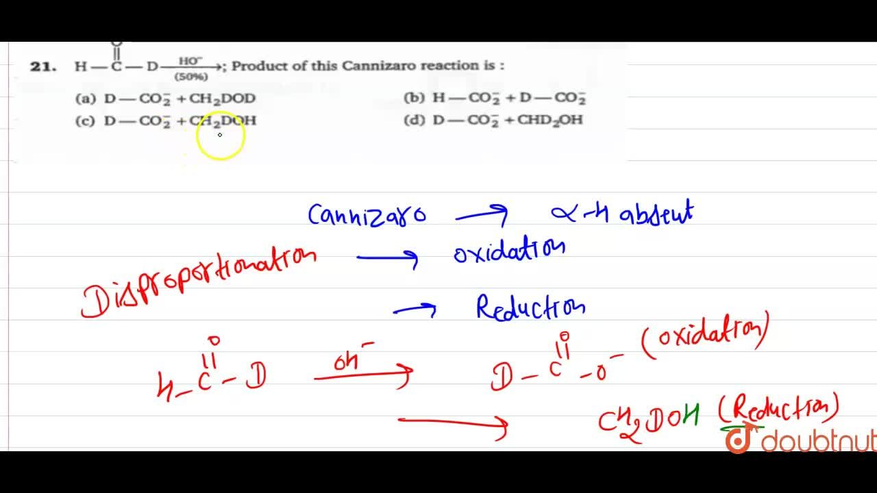 Solution for H-overset(O)overset(||)(C)-Dunderset((50%))overse