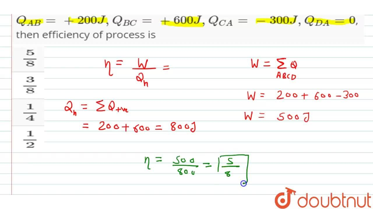 Solution for A cyclic process contains four steps AB,BC,CD and